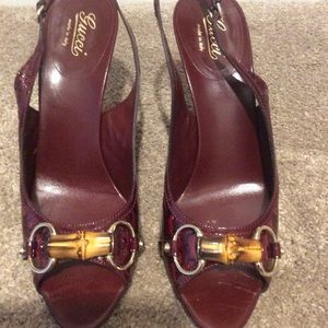 Gucci wine red patent sling backs